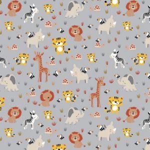 Giraffe tigri e leoni fondo grigio