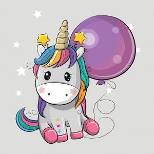 100x75 Unicorno grigio palloncino