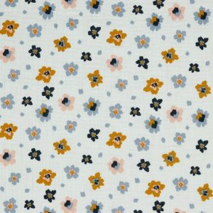 Mussola fiori fondo bianco