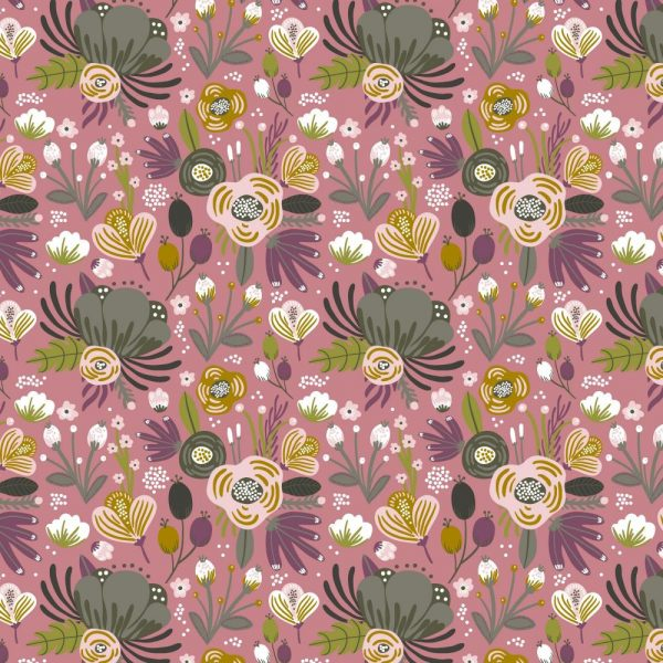 Jersey fiori fondo rosa