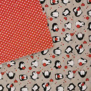 Trapunta Pingouin/cuoricini fondo rosso