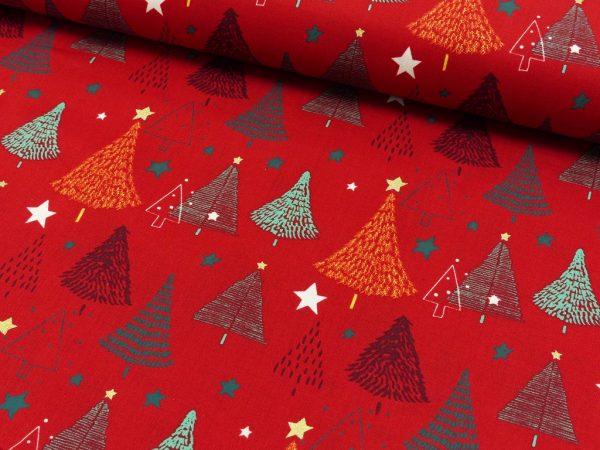 Alberi fondo rosso - Natale